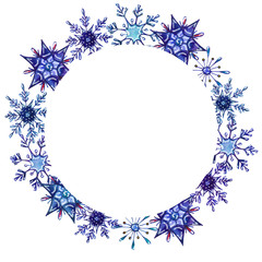 Watercolor snowflakes round frame