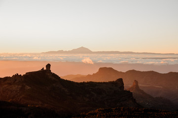 GRAN CANARIA,SPAIN - NOVEMBER 6, 2018: landscape from the mountains Roque Nublo on the Tenerife island
