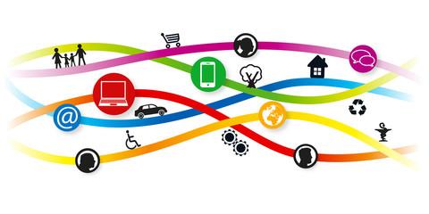 concept d'une bannière internet et de pictogrammes, pour illustrer les activités d'une ville et de ses habitants