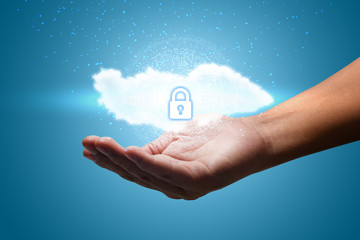 Hand shows a data cloud with a protective shield