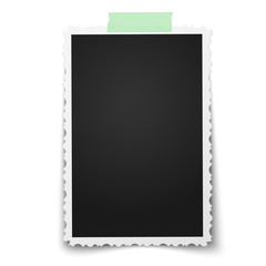 Realistic vector photo frame with retro figured edges on piece of green sticky, adhesive tape placed vertically on white background. Template photo design.