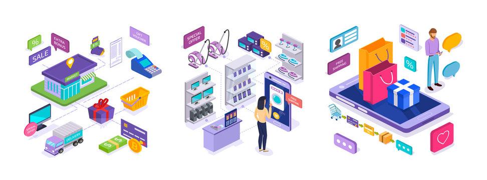 E-commerce. Sales in market, online shopping, digital marketing, mobile application.