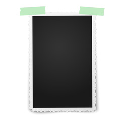 Realistic vector photo frame with retro figured edges on two pieces of green sticky, adhesive tape placed vertically on white background. Template photo design.