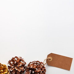 Pine cones on white blank background. purity Christmas decoration. Copy space for text, top view, real photo..