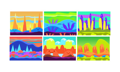 Flat vector set of cartoon seamless backgrounds for mobile game. Colorful landscapes with hills and rivers