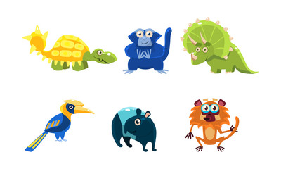 Flat vector set of different animals. Funny cartoon characters. Fauna and wildlife theme