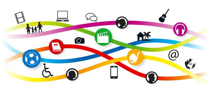 concept d'une bannière internet avec des pictogrammes, pour illustrer les différentes activités culturelles, sportives et artistiques pour une ville et ses habitants.
