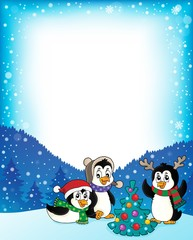 Christmas penguins thematic frame 2