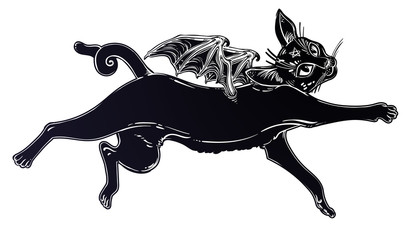 Black cat as cute imp with monster bat wings.