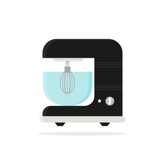 Icon of dough mixer with glass bowl. Kitchen appliance. Household equipment. Electric device. Modern technology theme. Colorful vector illustration in flat style isolated on white background.