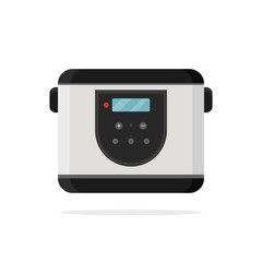 Icon of electric multi-cooker, cooking pot. Kitchen appliance. Modern device. Household equipment. Technology theme. Colorful vector illustration in flat style isolated on white background.