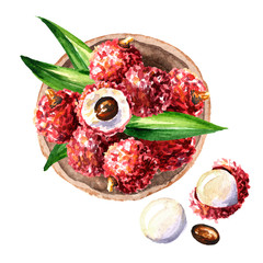 Bowl with ripe lychee. Top view. Watercolor hand drawn illustration, isolated on white background