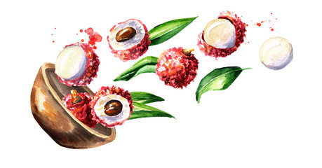 Bowl with ripe lychee. Watercolor hand drawn horizontal  illustration, isolated on white background