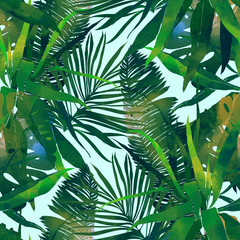 imprints abstract tropical leaves mix repeat seamless pattern. digital hand drawn picture with watercolour