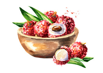 Bowl with ripe lychee. Watercolor hand drawn illustration, isolated on white background