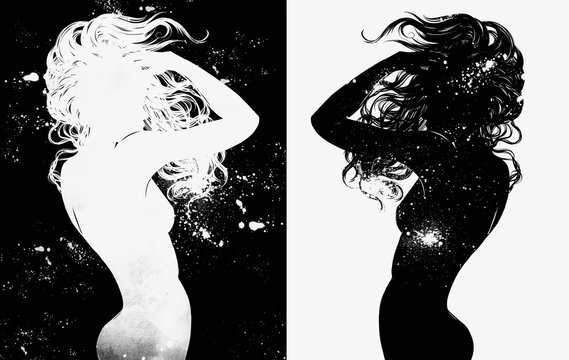 Dance alone in the universe. A young naked girl with long hair is dancing against stars and galaxies. Digital hand