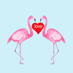 Happy Valentine's Day. Watercolor cards with red hearts and pink flamingos isolated on a blue background.