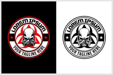 skull gas mask with biohazard symbol vector logo template