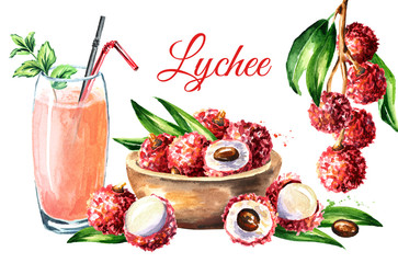 Lychee card. Watercolor hand drawn illustration  isolated on white background