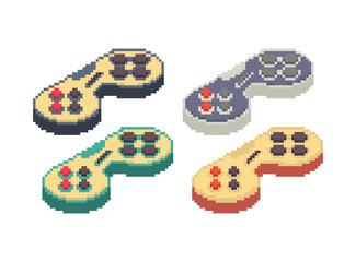 Gamepad pixel art set. Joystick 8bit. Video game Old school control lever