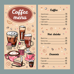 Coffee menu design template with list of hot drinks and desserts. Cover  with colorful mugs and cakes. Vector outline colorful hand drawn illustration on brown background