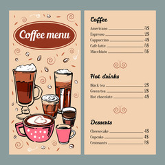 Coffee menu design template with list of hot drinks and desserts. Vector outline colorful hand drawn illustration on brown background