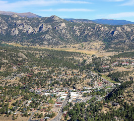 Aerial view of the village of Estes Park minutes from the Rocky Mountain National Park entrance.  Estes Park is known as the Gateway to the Rockies.