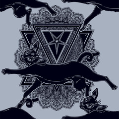 Black cat running or jumping seamless pattern on top of ornate pentagram.