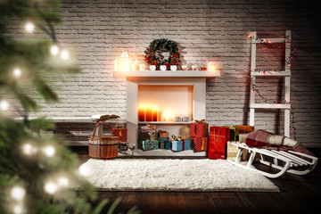Christmas interior and free space for your decoration