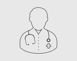 Doctor line Icon on gray Background.