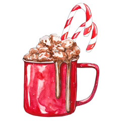Red Cup of cocoa with marshmallows