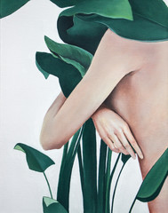 acrylic painting of woman with green plants on canvas