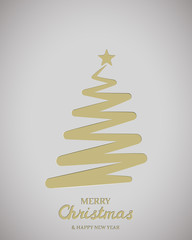 Stylized christmas tree. Vertical gray background. Paper christmas tree. Merry Christmas Greetings card