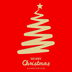 Stylized christmas tree on red background. Paper christmas tree. Merry Christmas Greetings card