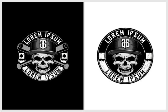 cool skull with hat and cross baseball bats vector hip hop theme logo template