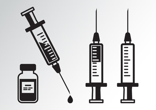 Black set of syringes for injection with vaccine, vial of medicine. Vector illustration