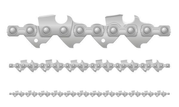 chainsaw chain metal and sharply sharpened vector illustration
