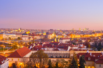 Fototapete - skyline  Prague twilight Czech cityscape