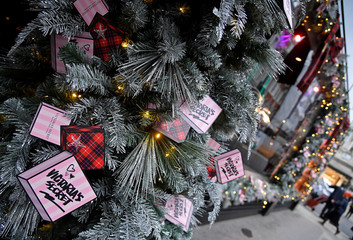 A Christmas seasonal display is seen outside of a Victoria's Secret lingerie flagship store in London, Britain