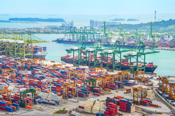 Poster de jardin Chine Singapore cargo shipping port harbor