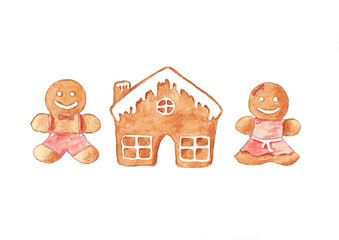 Watercolor illustration set christmas gingerbread cookies. Isolated on white background.