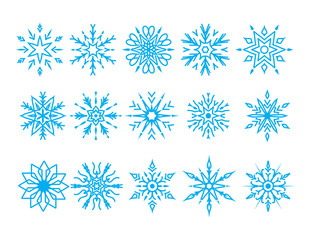 set of blue snowflakes. flat design isolated on white background. winter decoration