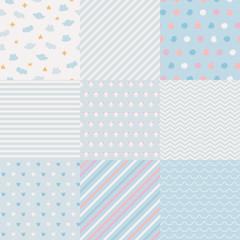 Set of minimalistic seamless patterns.