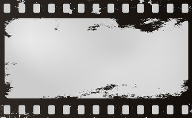 Black scratched horizontal grunge film strip for advertisement text, background. Vector illustration.