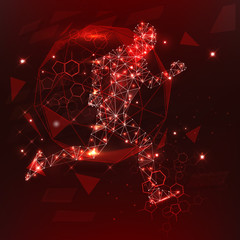Abstract Illustration of a running man created of lines dots and lights on a dark red background