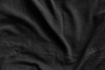 Black fleece, texture of soft insulating fabric