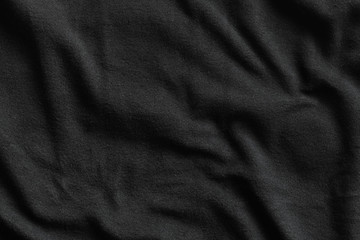 Texture of black fleece, soft napped fabric