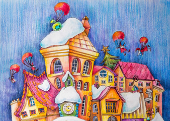 Roofs of a fabulous city in the snow. Gifts on parachutes fly over the houses. Cartoon characters. Illustrations