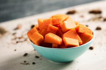 chopped raw pumpkin in a bowl