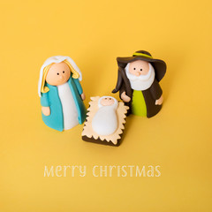 the holy family and the text merry christmas